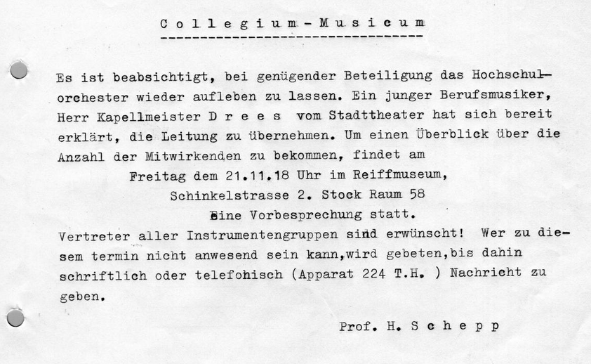 Professor Schepp's typed notice looking for musicians in 1952